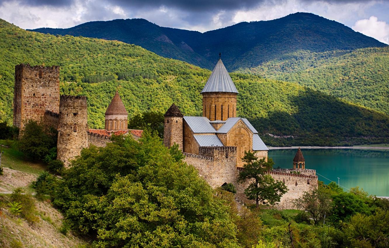 Photo wallpaper landscape, mountains, clouds, nature, river, fortress, architecture, Georgia, Ananuri, Mtskheta-Mtianeti