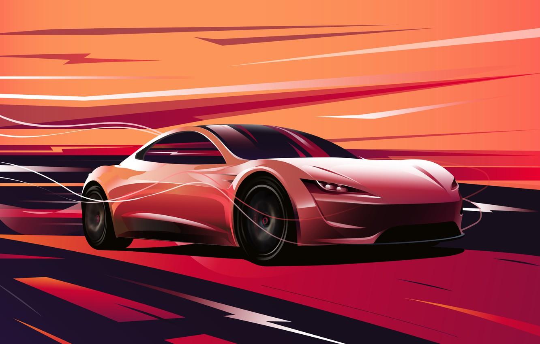 Photo wallpaper Roadster, art, art, Tesla, 2020