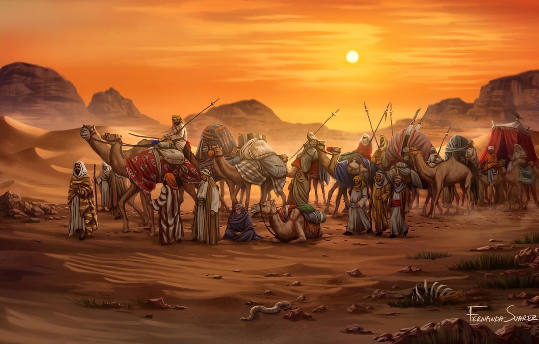 Photo wallpaper Sunset, Figure, The game, Caravan, Egypt, Art, Game, Illustration, Camels, Game Art, Board Game, Century …