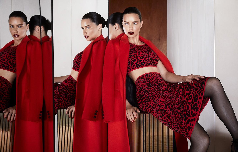 Photo wallpaper look, girl, face, pose, reflection, model, mirror, lips, Adriana Lima, coat