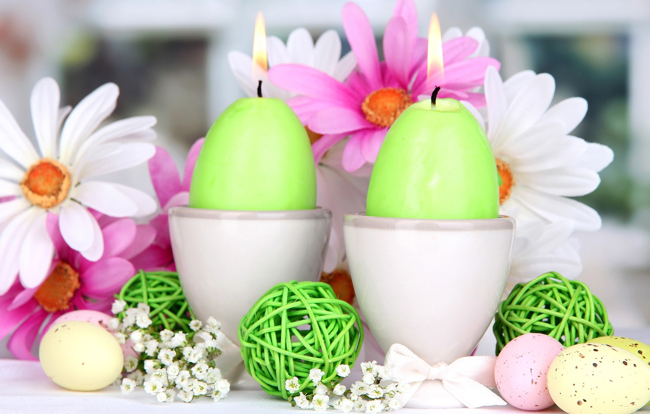 Photo wallpaper flowers, holiday, eggs, spring, candles, Easter, Easter
