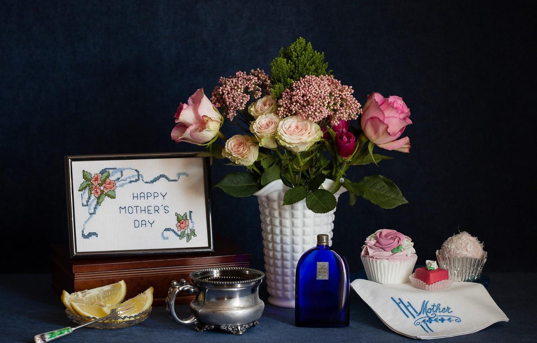 Photo wallpaper flowers, lemon, roses, bouquet, citrus, still life, cakes