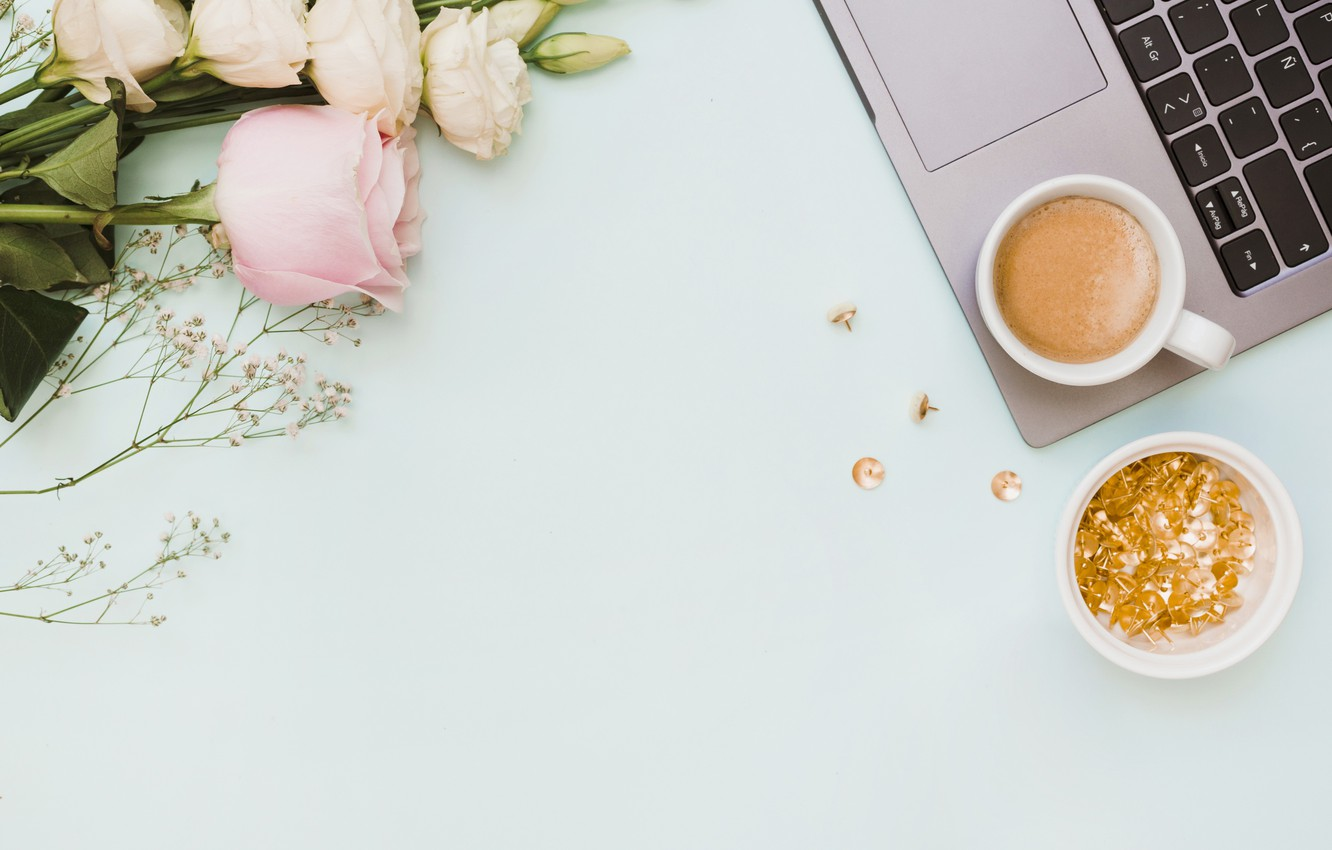 Photo wallpaper flowers, laptop, pink, flowers, coffee cup, eustoma, laptop, a Cup of coffee, eustoma