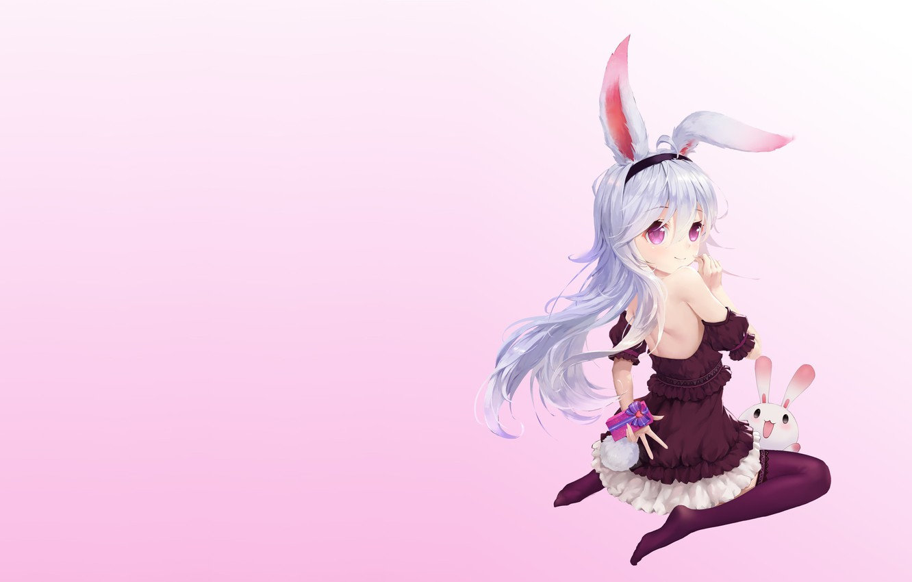 Photo wallpaper holiday, gift, anime, art, Bunny, Valentine, heart, Valentine's Day, Happy Valentine's Day, Cook Yang