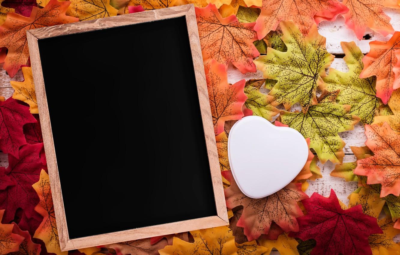 Photo wallpaper autumn, leaves, love, background, tree, heart, frame, love, heart, wood, background, autumn, leaves, romantic, autumn, …