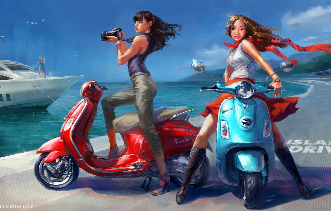 Photo wallpaper sea, summer, girls, stay, yacht, art, scooter, Vadim Gousmanov, Island Drive