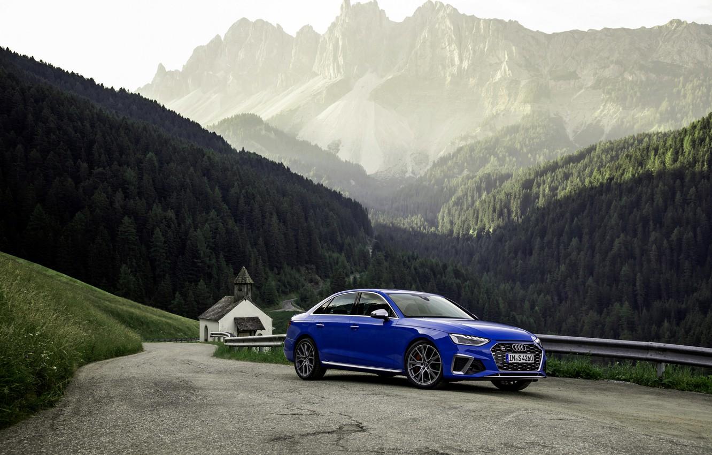 Wallpaper blue, Audi, sedan, Audi A4, on the road, Audi S4, 2019