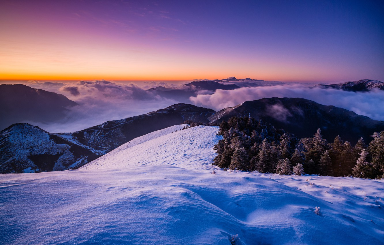 Photo wallpaper cold, winter, frost, forest, purple, the sky, snow, landscape, sunset, mountains, blue, nature, fog, lilac, …
