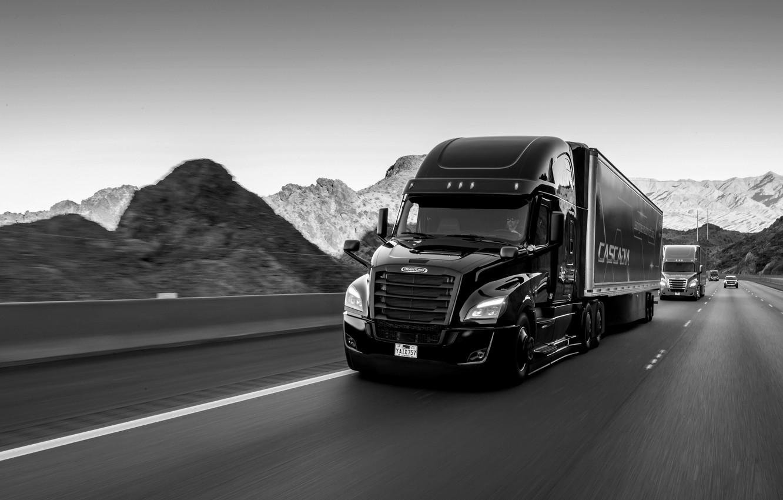 Photo wallpaper black, track, Freightliner, tractor, bonnet, Cascadia