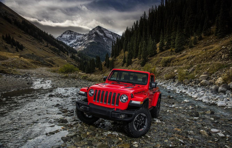 Photo wallpaper mountains, red, stream, the slopes, 2018, Jeep, Wrangler Rubicon
