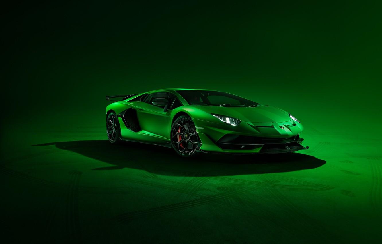 Photo wallpaper Lamborghini, Green, Front, Aventador, Supercar, SVJ