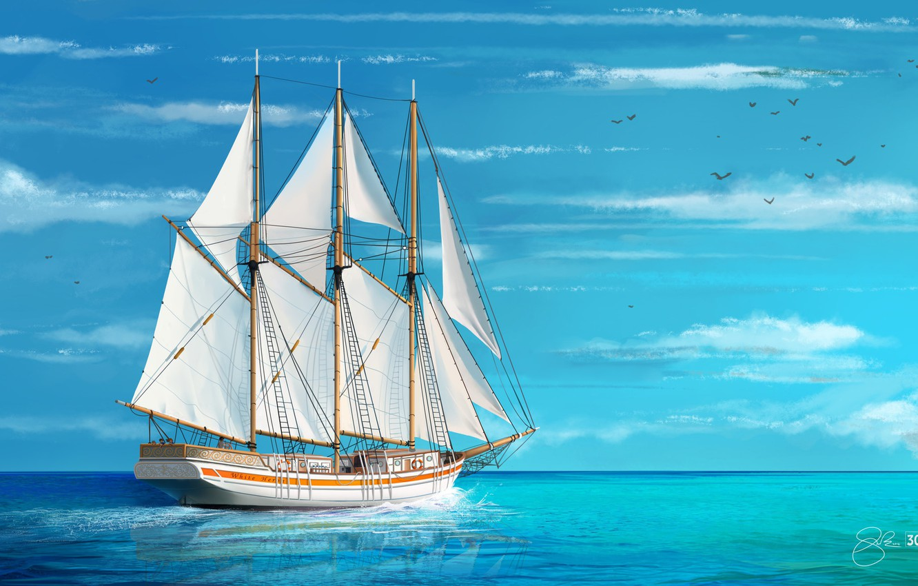 Photo wallpaper Sea, Figure, Ship, Sailboat, Art, Ship, Schooner,