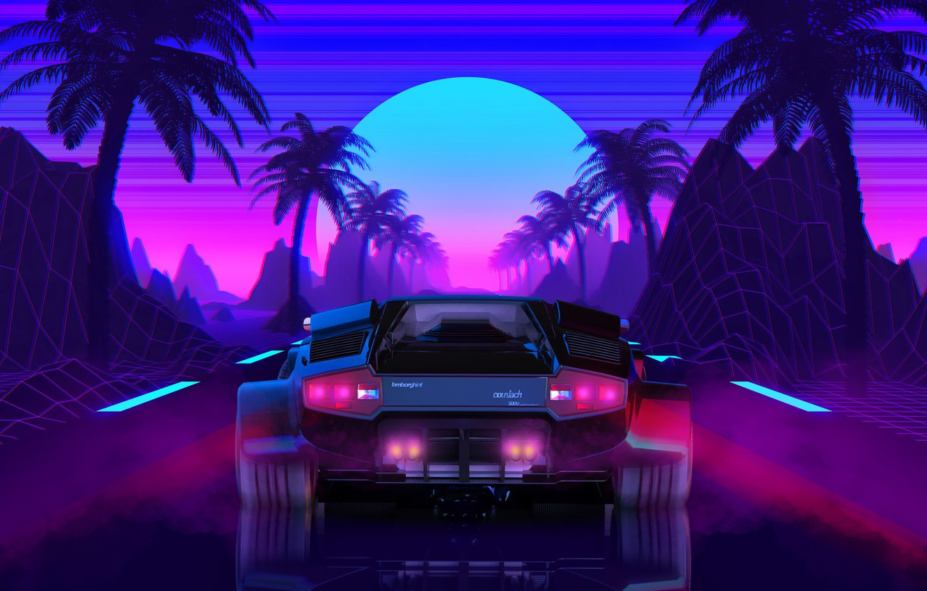 Wallpaper The Sun Lamborghini Background 80s Neon Countach