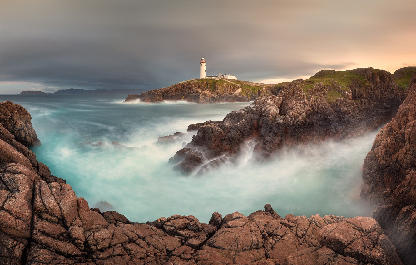 Photo wallpaper landscape, the ocean, rocks, lighthouse, Bay, Ireland, harbour, Atlantic, Donegal, Donegal