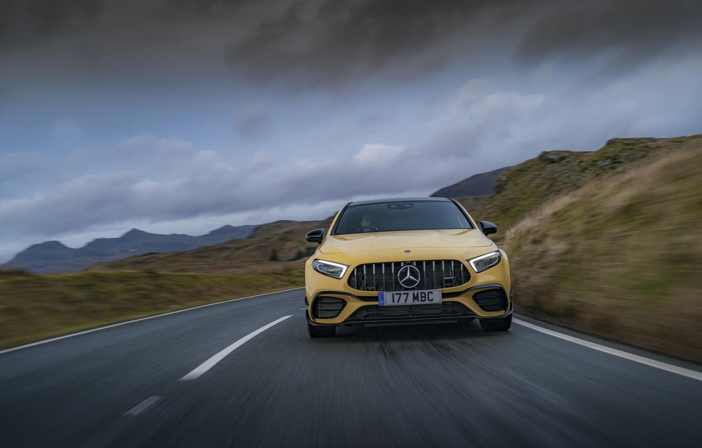 Photo wallpaper Mercedes-Benz, speed, AMG, hatchback, UK-spec, 2020, 4MATIC+, A45 S, Aerodynamic Package