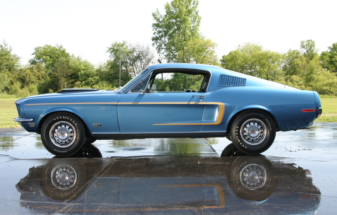 Photo wallpaper Muscle, Ford Mustang, Classic, Blue, Fastback, Cobra Jet, GT 428