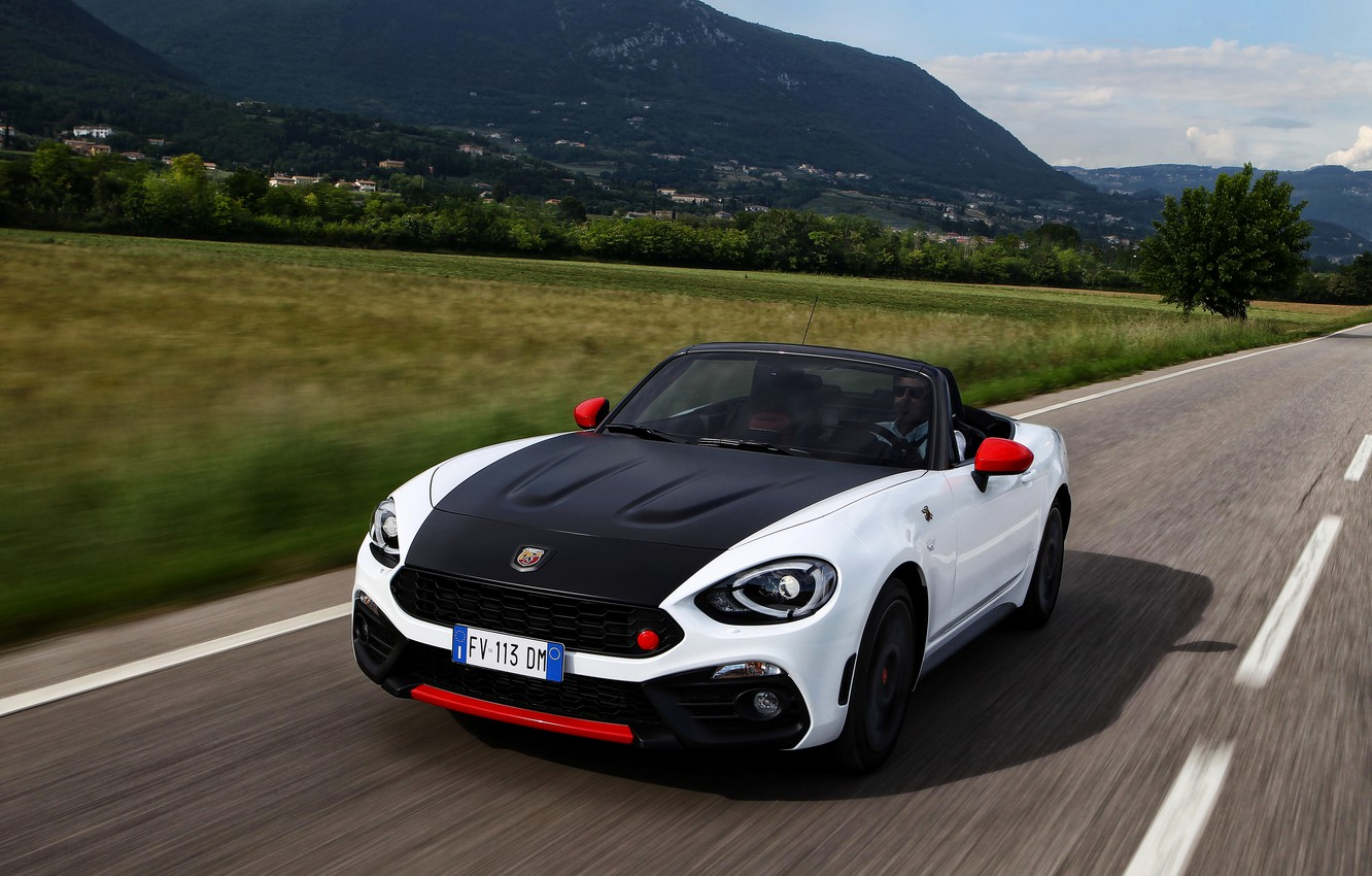 Photo wallpaper field, mountains, Roadster, spider, black and white, double, Abarth, 2016, 124 Spider