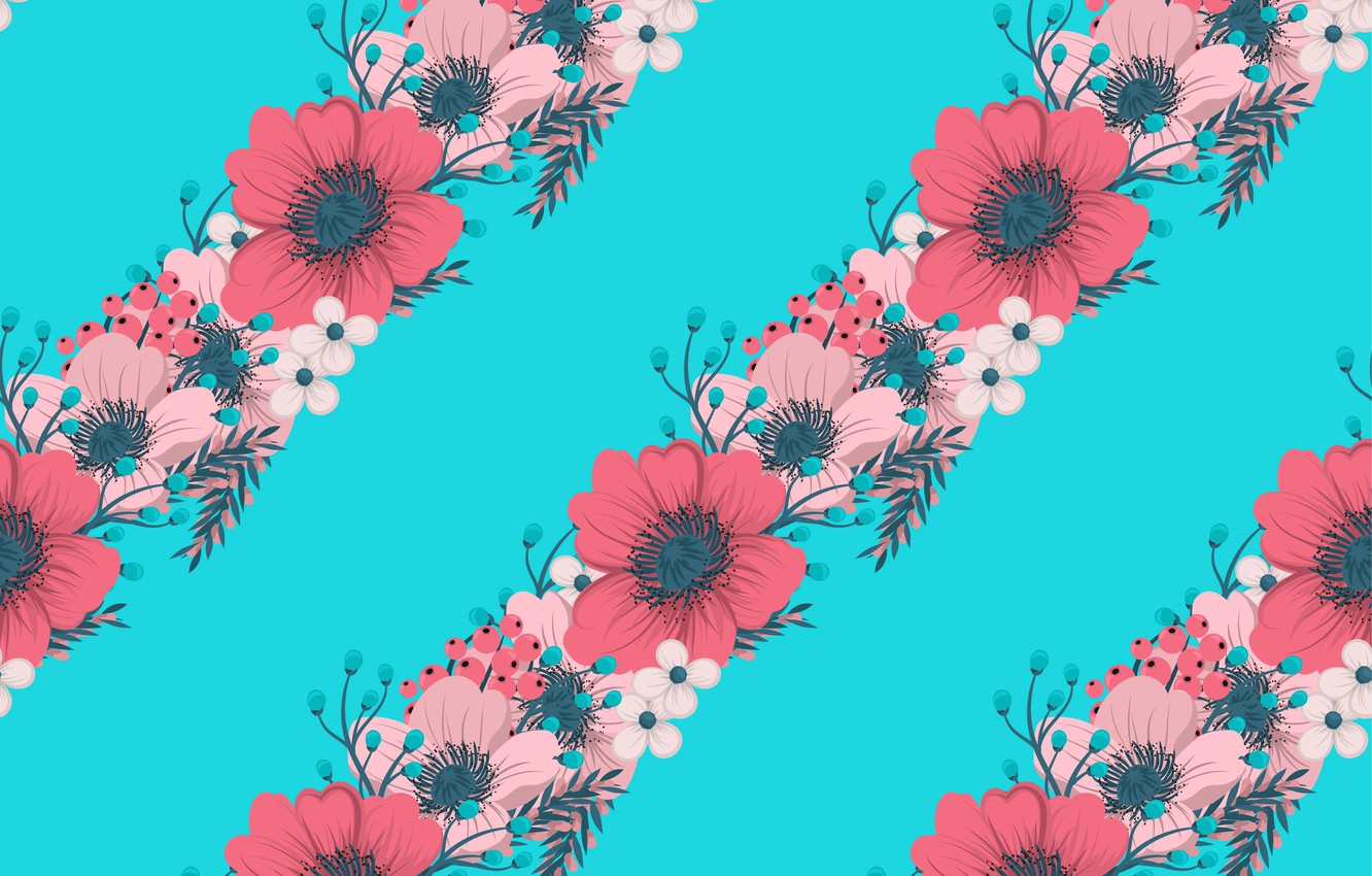 Wallpaper Flowers Background Blue Texture Pink Red Blue Flowers Pattern Leaves Texture Hand Images For Desktop Section Tekstury Download