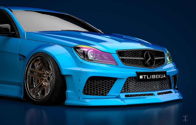 Photo wallpaper Mercedes-Benz, Blue, Machine, Blue background, Mercedes, Car, C63, Widebody, Transport & Vehicles, November Tlibekov, by …