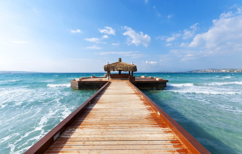 Photo wallpaper waves, sea, landscape, wood, pier