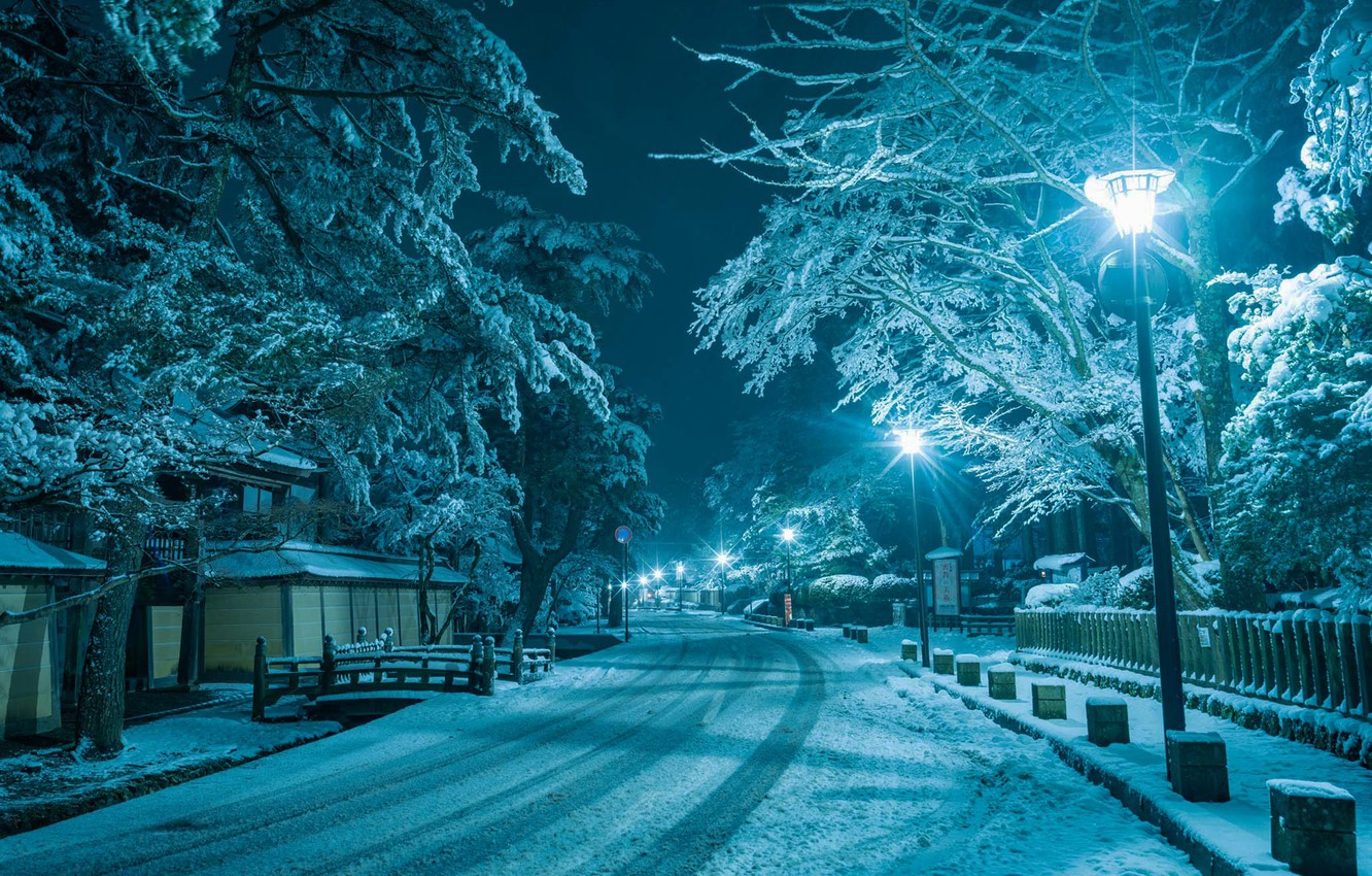 Photo wallpaper winter, road, snow, night, the city, house, street, lights