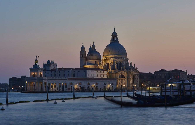 Photo wallpaper photo, The city, Cathedral, Boats, Italy, Venice, Santa Maria della Salute