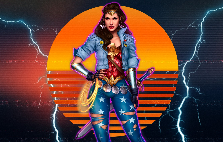 Photo wallpaper The sun, Girl, Music, Lightning, Style, Girl, Background, Zipper, Wonder Woman, Superhero, Beautiful, 80s, Beauty, …