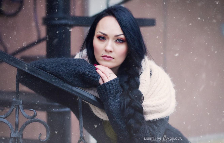 Photo wallpaper winter, girl, portrait, fantasy, art, winter portrait, womens portrette