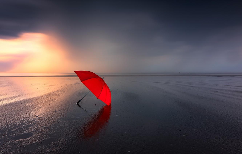 Photo wallpaper sea, shore, umbrella