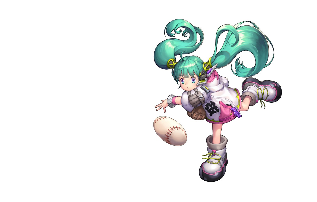 Photo wallpaper the ball, art, children's, Purple Moon, animal Vocaloid, Baseball Girl_2018