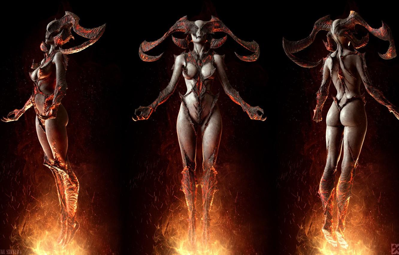 Photo wallpaper flame, being, horns, Keos Masons, The Original Sinner