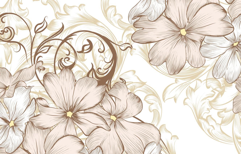 Photo wallpaper flowers, retro, vintage