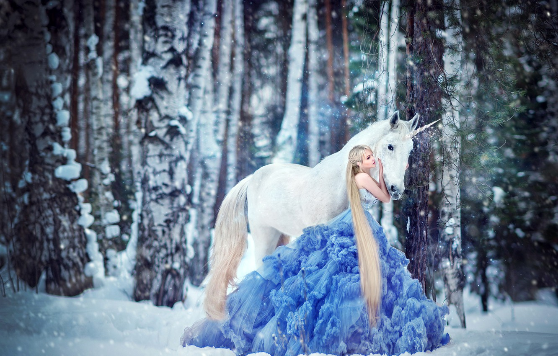 Photo wallpaper winter, forest, white, girl, snow, trees, love, nature, pose, fantasy, mood, horse, trunks, blue, horse, …