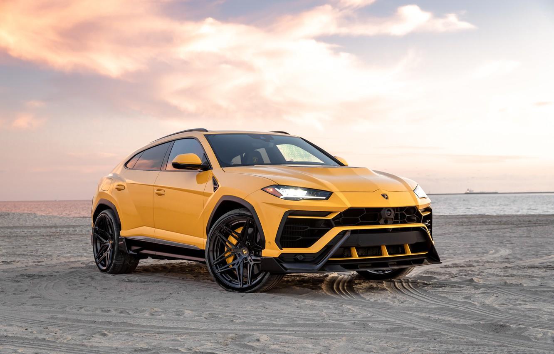 Photo wallpaper beach, sunset, the evening, Lamborghini, Vorsteiner, crossover, Urus, 2019