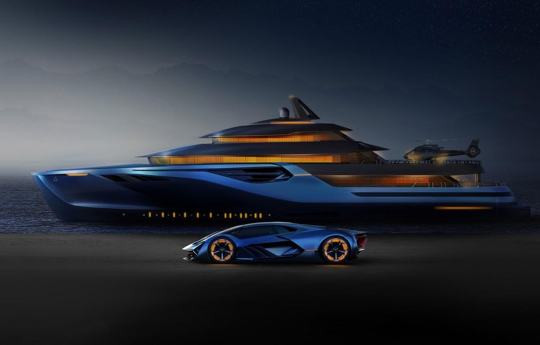 Photo wallpaper rendering, Lamborghini, yacht, The Third Millennium