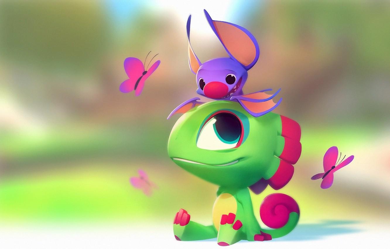 Photo wallpaper mood, butterfly, art, lizard, bat, children's, Nicholas Kole, Yooka Laylee