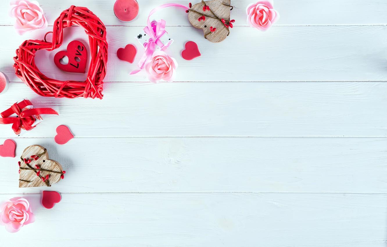 Photo wallpaper gift, heart, roses, love, heart, pink, romantic, roses, cookies