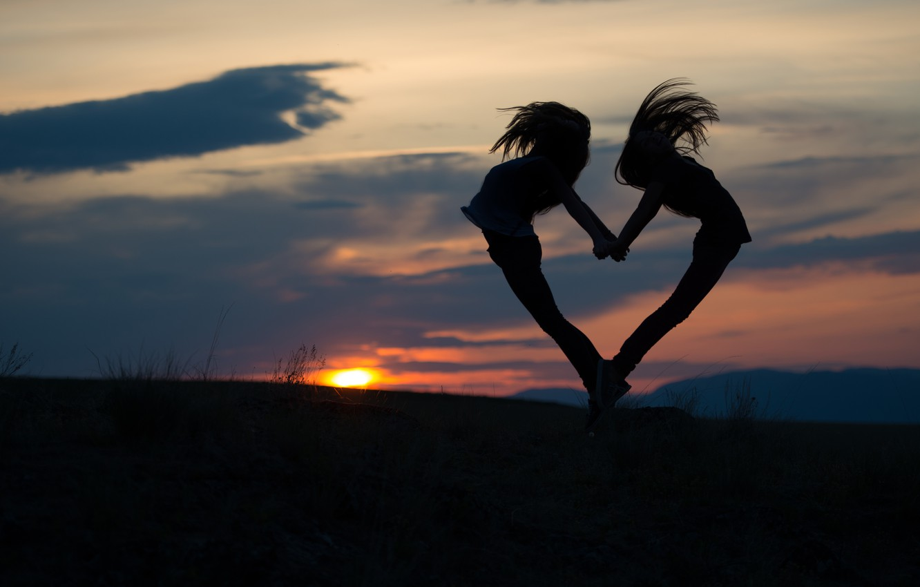 Photo wallpaper the sky, sunset, girls, mood, jump, heart, pair, two girls, silhouettes