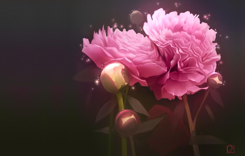Photo wallpaper flowers, art, art, peony, Alexander Khitrov, GaudiBuendia