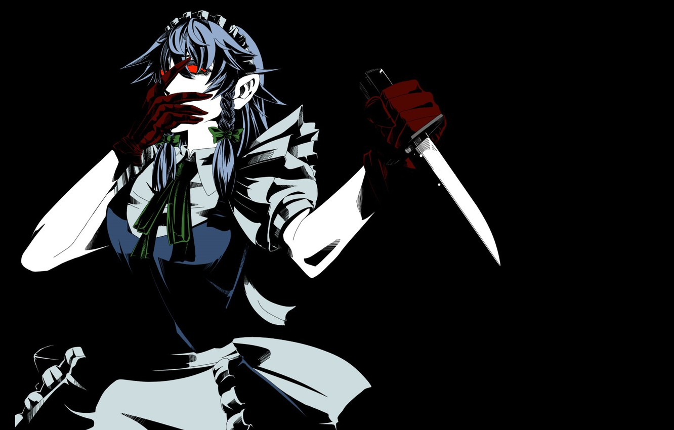 Photo wallpaper monster, blade, red eyes, killer, the maid, in the dark, Izayoi Sakuya, with a knife, …