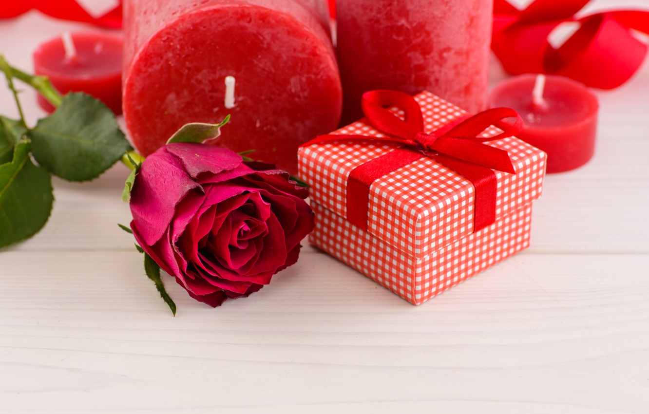 Photo wallpaper love, gift, roses, candles, red, red, love, flowers, romantic, hearts, valentine's day, roses, gift box
