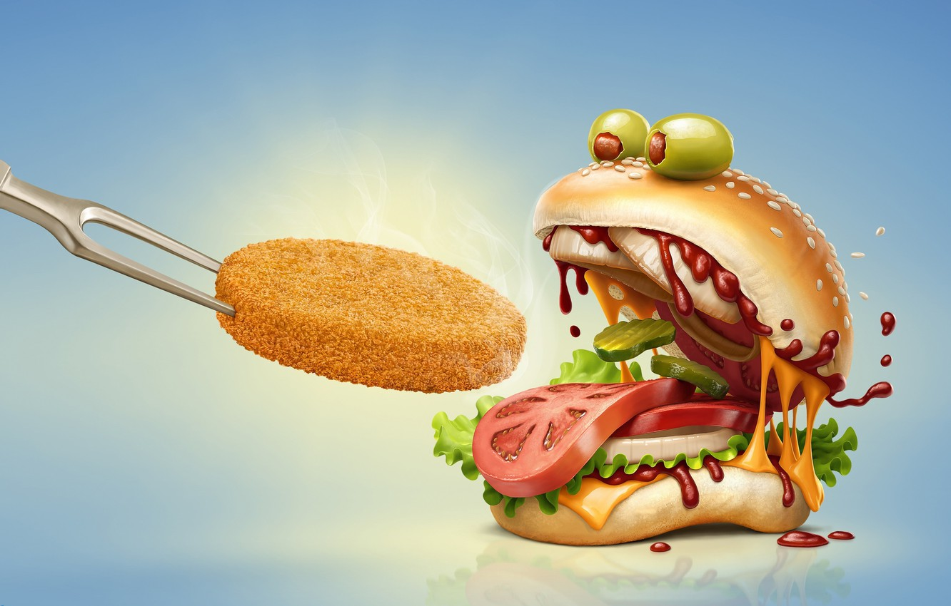 Photo wallpaper rendering, food, art, tomato, olives, hamburger, fast food, cucumber, cutlet