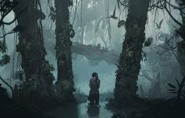 Photo wallpaper Water, Reflection, Girl, Trees, Birds, Jungle, Square Enix, Lara Croft, Shadow of the Tomb Raider