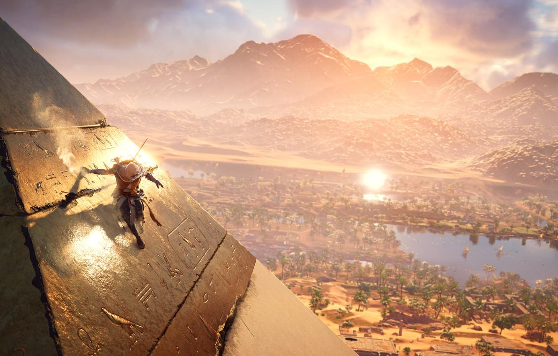 Photo wallpaper The sun, Mountains, Lake, Palm trees, Pyramid, Warrior, Ubisoft, Game, Assassin's Creed Origins, Bayek
