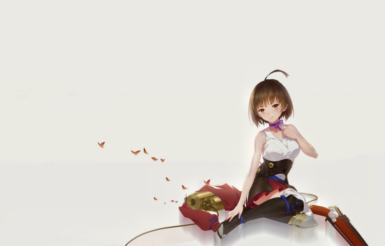 Photo wallpaper Girl, Anime, Weapon, Cute, Posing, Pretty, Butterfly, Ribbon, Character, Kabaneri of the Iron Fortress, Koutetsujou …
