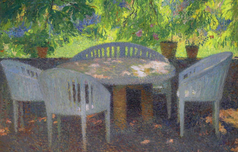 Photo wallpaper table, picture, garden, Henri-Jean Guillaume Martin, Henri Matrin, Under the Grand Marquayrol