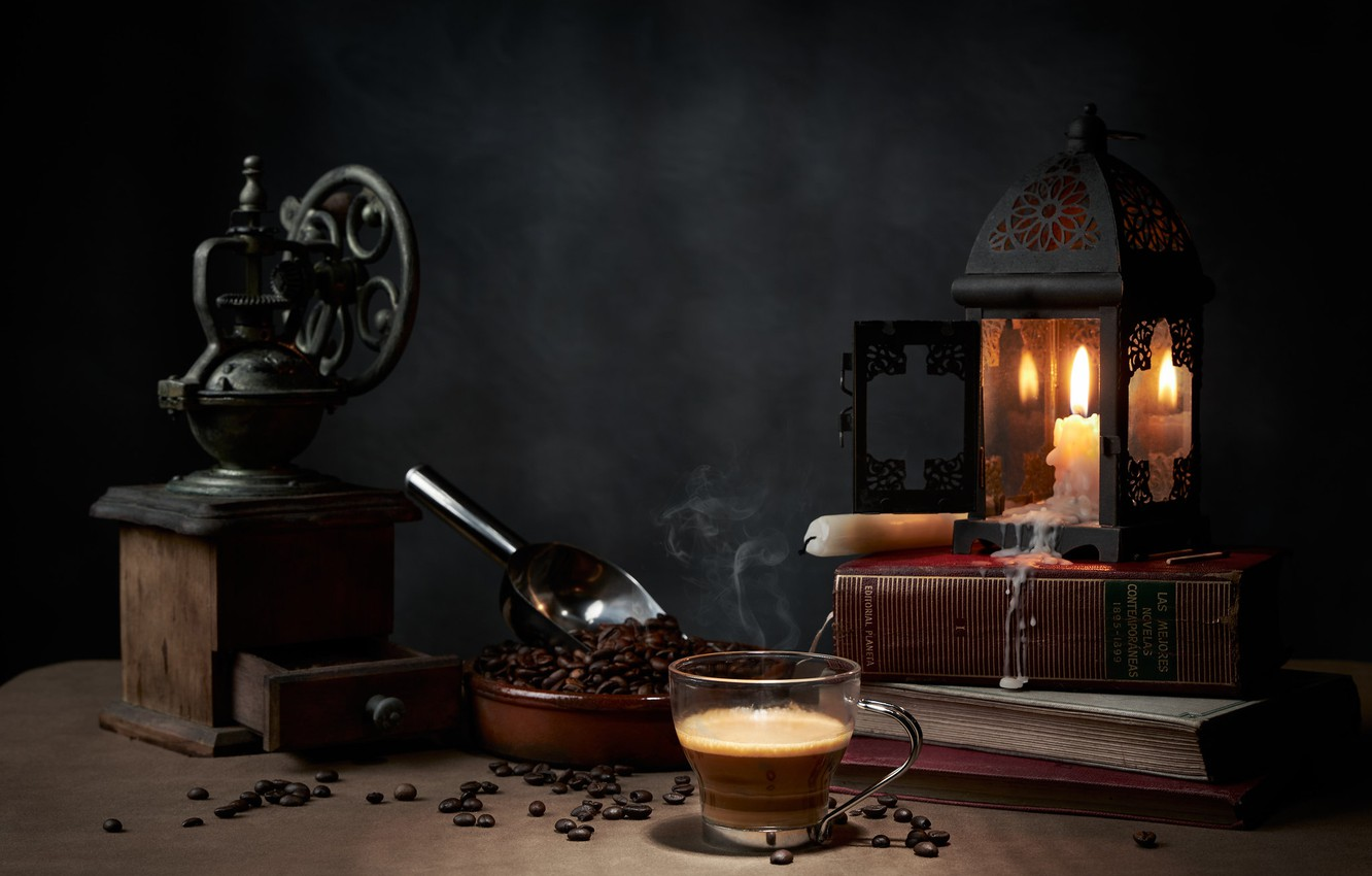 Photo wallpaper style, books, lamp, coffee, candles, mug, still life, coffee beans, coffee grinder, scoop