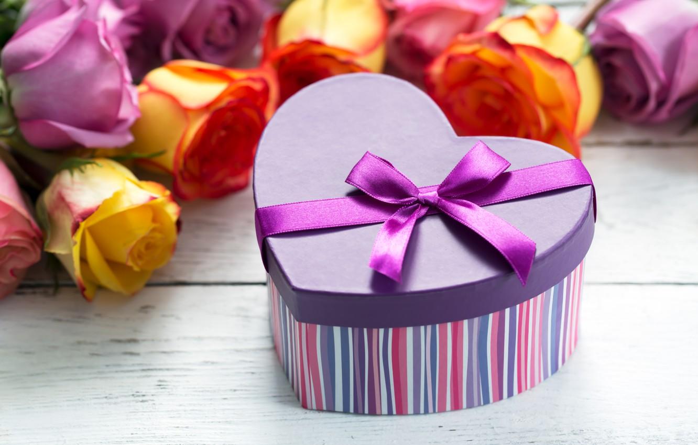 Photo wallpaper box, gift, roses, bouquet, tape, congratulations