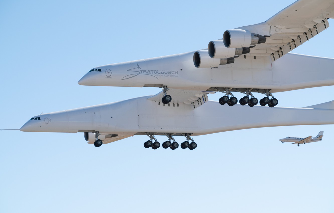 Photo wallpaper Landing, Chassis, Stratolaunch, Stratolaunch Model 351, Stratolaunch Systems, The aircraft carrier, The mechanization of the ...