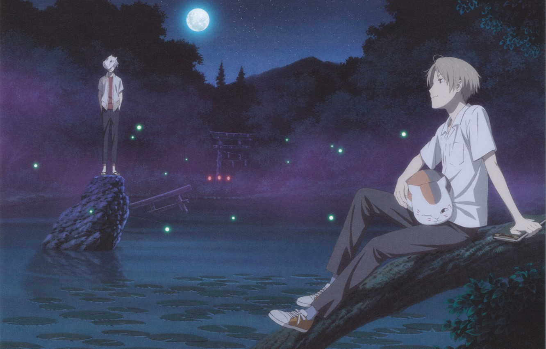 Photo wallpaper lake, lights, Japan, mask, guys, the full moon, nature, crossover, Hotarubi no Mori e, Gin, …